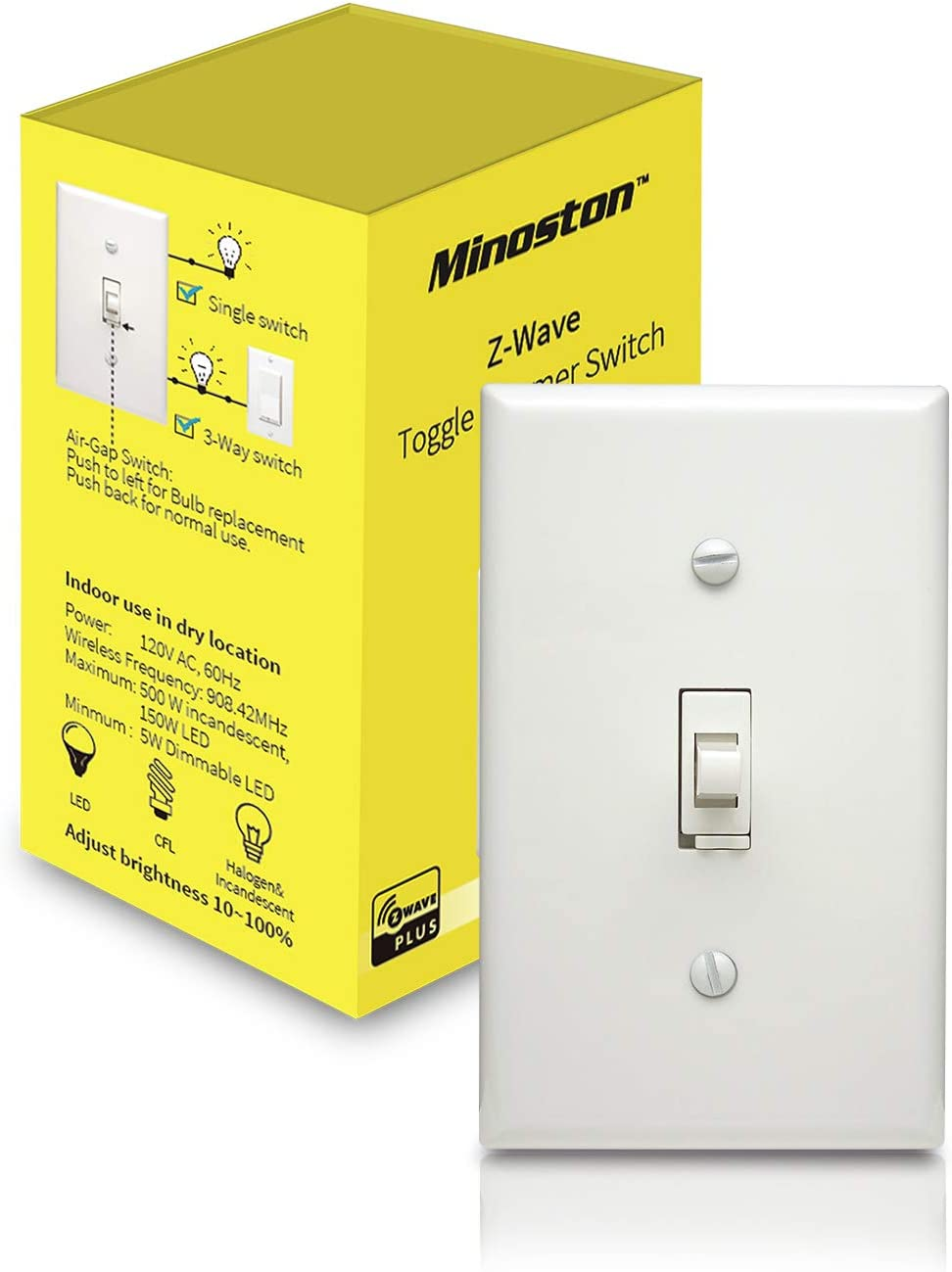 Z-Wave Plus Smart Dimmer Light Switch, In Wall, Toggle, Built-in Signal Repeater/Range Extender, 3-Way Installation, Works With SmartThings, Wink, Z-Wave Hub Required, White-(MS13Z)