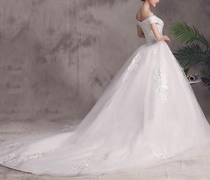 MOMO Meili Palabra Hombro Vestido de Novia 2018 Novia Coreana se casó con Mujeres Embarazadas de Gran tamaño era Delgada Cola Larga Qi Princesa: Amazon.es: ...