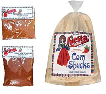 Bolners Fiesta Extra Fancy Tamale Seasoning Kit With Corn Shucks Bundle - Seasons 4# Meat