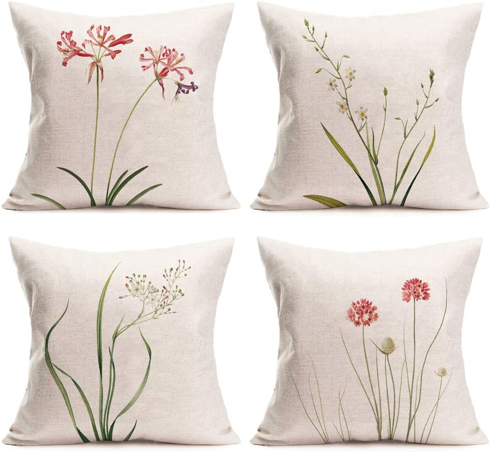 Amazon Com Royalours Throw Pillow Covers Green Leaf Floral Decorative Throw Pillow Case Cushion Cover Cotton Linen Pillowcase For Home Sofa Car 18 X 18 Inches Set Of 4 Fresh Floral Home Kitchen
