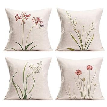 Amazon.com: Royalours - Fundas de almohada de algodón y lino ...