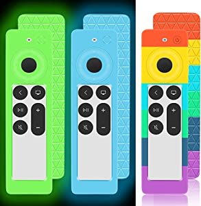 3 Pack Silicone Cover for 2021 Apple TV 4K Siri Remote 2nd Generation, Protective Case for Apple TV 6th Gen/HD Siri Remote Control Antislip Shockproof Covers Holder Skin-Glow Blue, Glow Green, Rainbow
