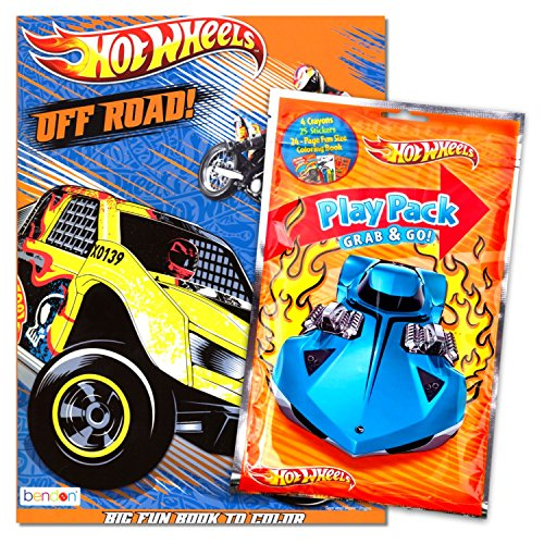 - Hot Wheels 96 Page Coloring Book with Hot Wheels Coloring Fun Pack (Coloring Book, Crayons, Stickers)
