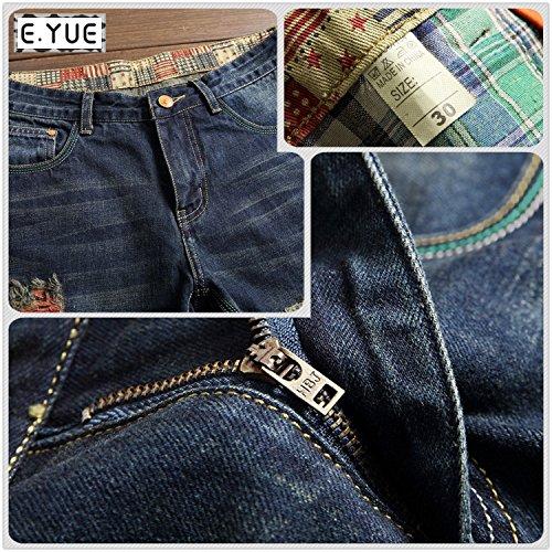 E.YUE jeans uomo strappati straightFit Sguardo Distrutto#8730