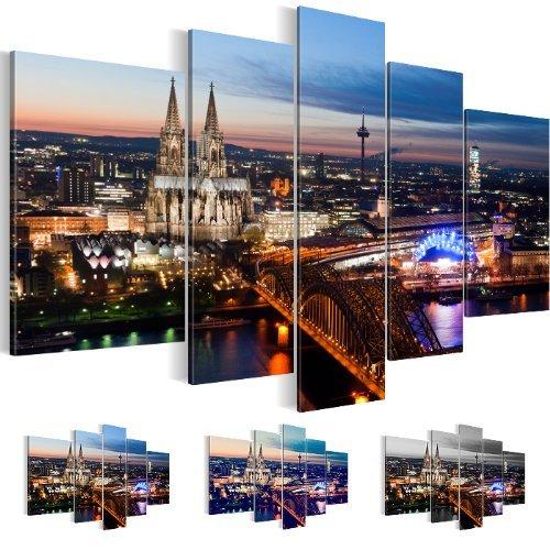 Bilder & Kunstdrucke Prestigeart, 6015527a Bild auf Leinwand, Deutschland, Skyline Köln Dom Brücke Panoramabild 170 x 100 cm, 5 Teile