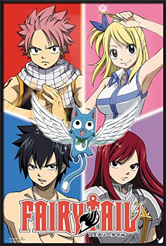 Fairy Tail - Framed Manga / Anime TV Show Poster / Print (Character Grid) (Size: 24