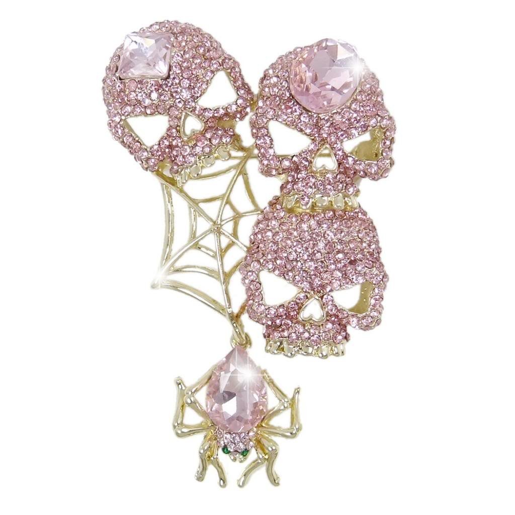 EVER FAITH Austrian Crystals Halloween Vintage Style Spider Web Skull Brooch Pendant Pink Gold-Tone