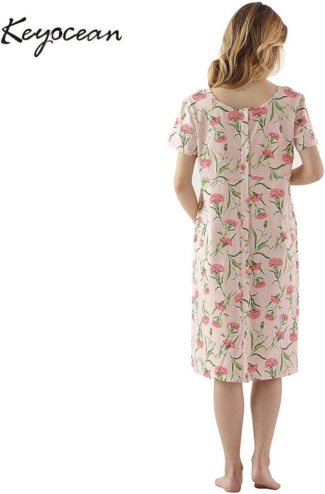Keyocean Womens Maternity Nursing Dress Short Sleeve Pregnancy Dress 100/% Cotton Soft Breastfeeding Nightgown
