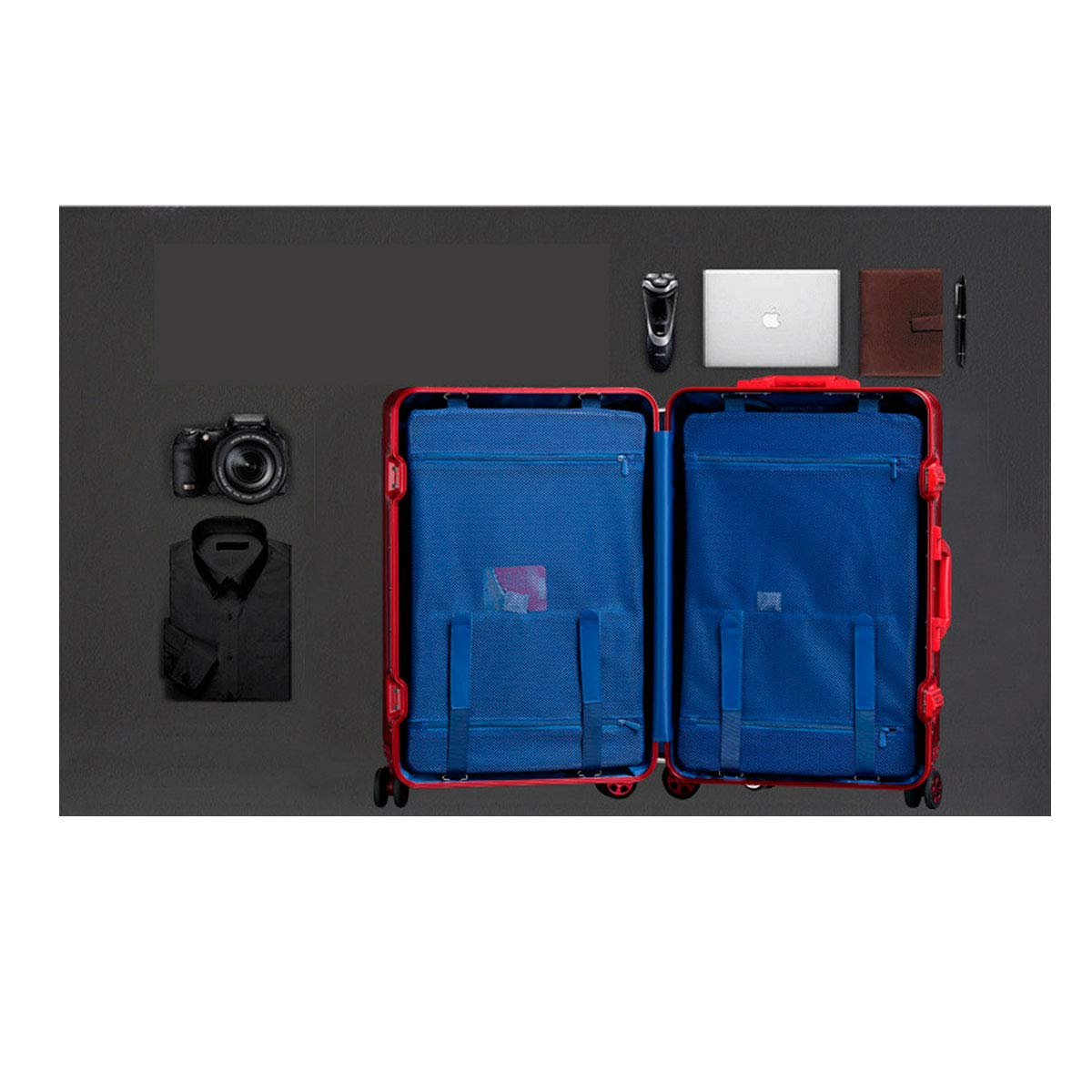 Suitcase 20 Inches Travel Essential Luggage Kehuitong Hard Travel Bag Travel Organizer Color : Red, Size : 20 Inches Blue Trolley Case Simple