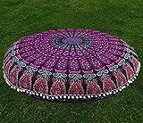 "32"" Puff Purple Mandala Floor Pillow Cushion Seating Throw Cover Hippie Decorative Boho"