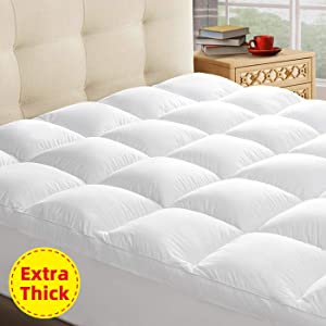Taupiri King Mattress Topper with Deep Pocket (8-21 Inches), Extra Thick Cooling Cotton Pillowtop Soft Mattress Pad, Hypoallergenic Down Alternative Mattress Cover