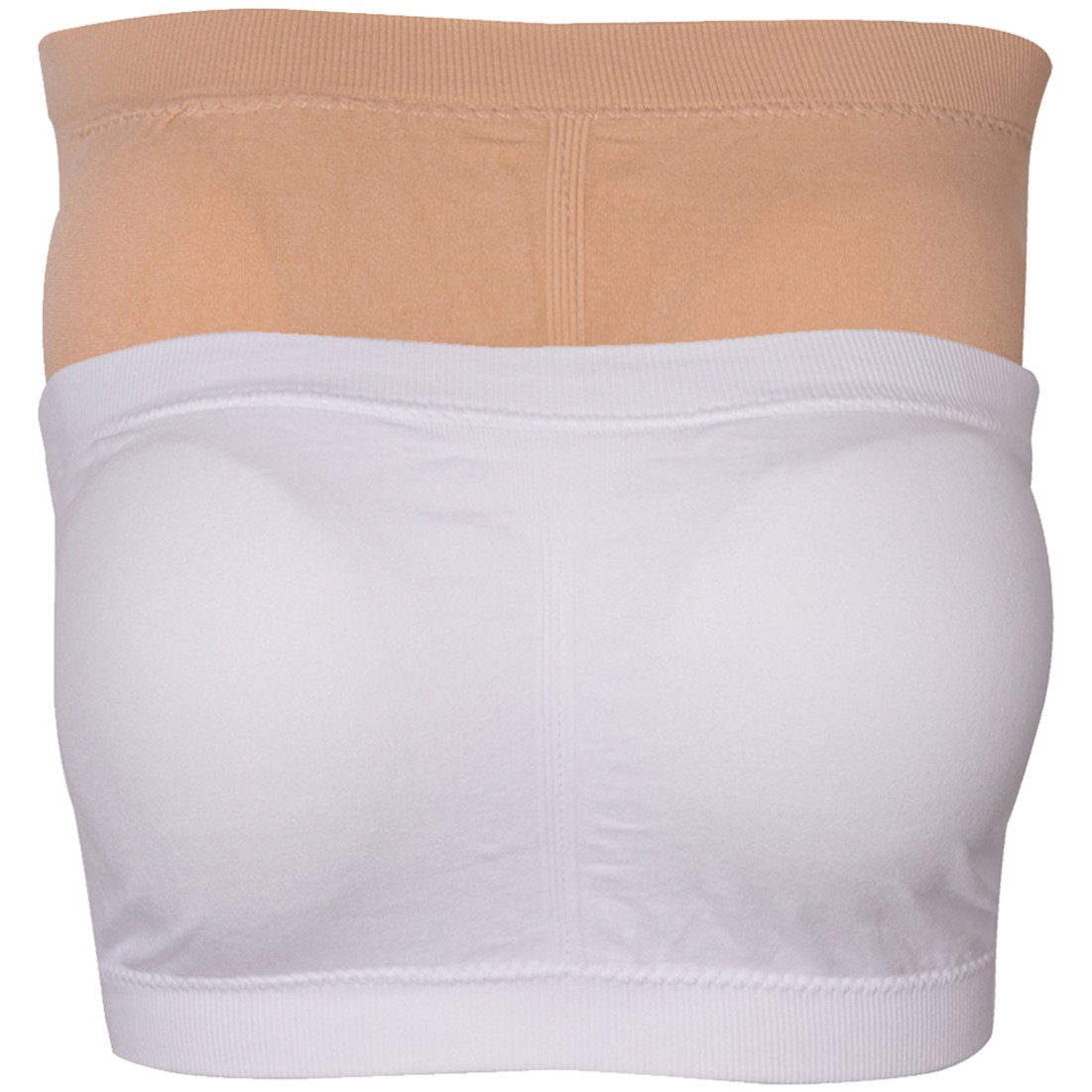 Elliscold Women's Basic Seamless Tube Top Padded Bras Stretch Strapless Bandeau Bra 1-3 Pack