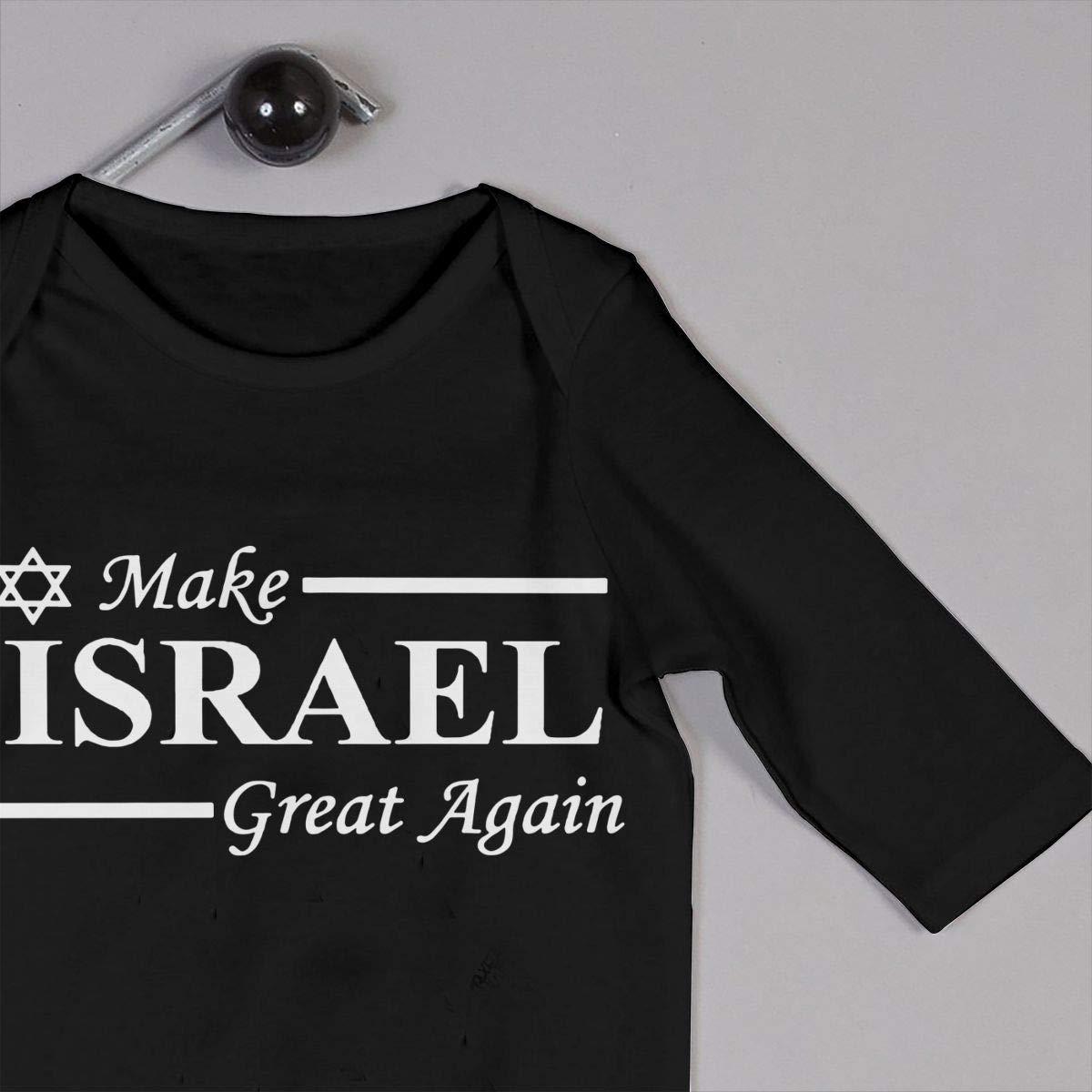 UGFGF-S3 Make Israel Great Again Baby Boy Girl Long Sleeve Bodysuit Bodysuits Onsies