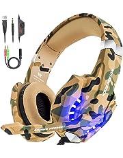 VersionTECH. Auriculares Gaming Estéreo con Micrófono Cascos Gamer Profesionales, Grave Amplificado Over-Ear Con Luz LED, Cancelación de Ruido para PS4 / PC / Nueva Xbox One (Camuflaje)