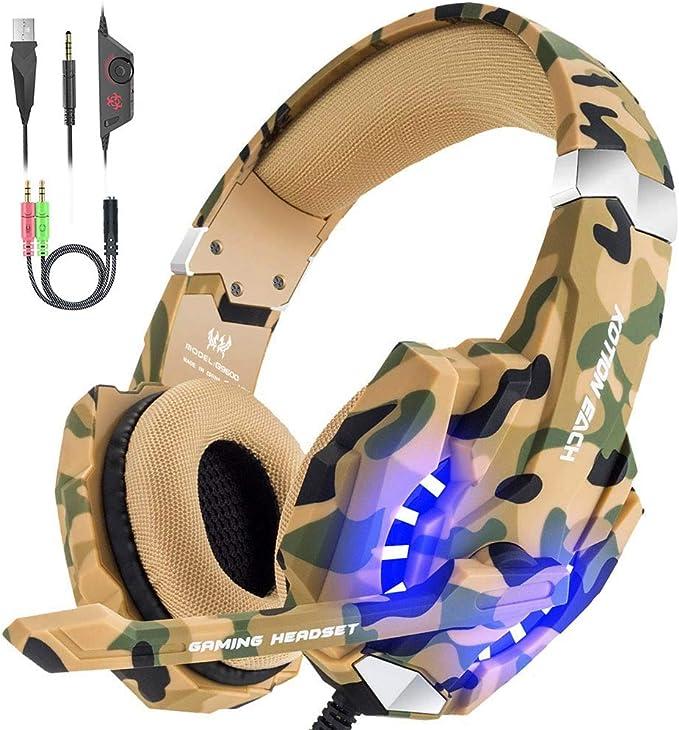 VersionTECH. Auriculares Gaming Estéreo con Micrófono Cascos Gamer ...