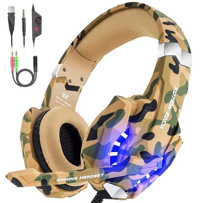VersionTECH. Auriculares Gaming Estéreo con Micrófono Cascos Gamer Profesionales, Grave Amplificado Over-Ear Con Luz LED, Cancelación de Ruido para ...