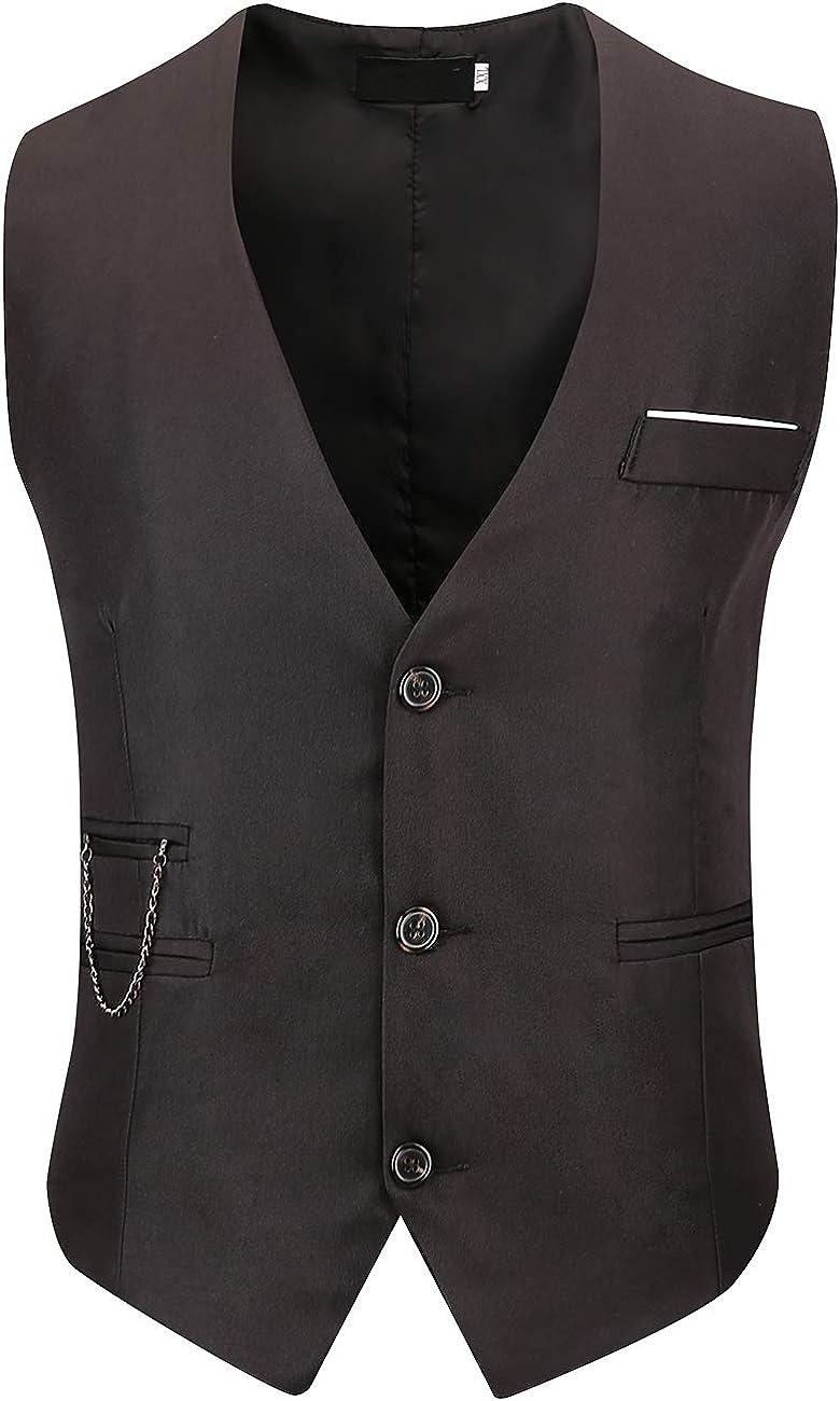 DOKKIA Men's Formal Dress Business Slim Fit Sleeveless Jacket Waistcoat Vest