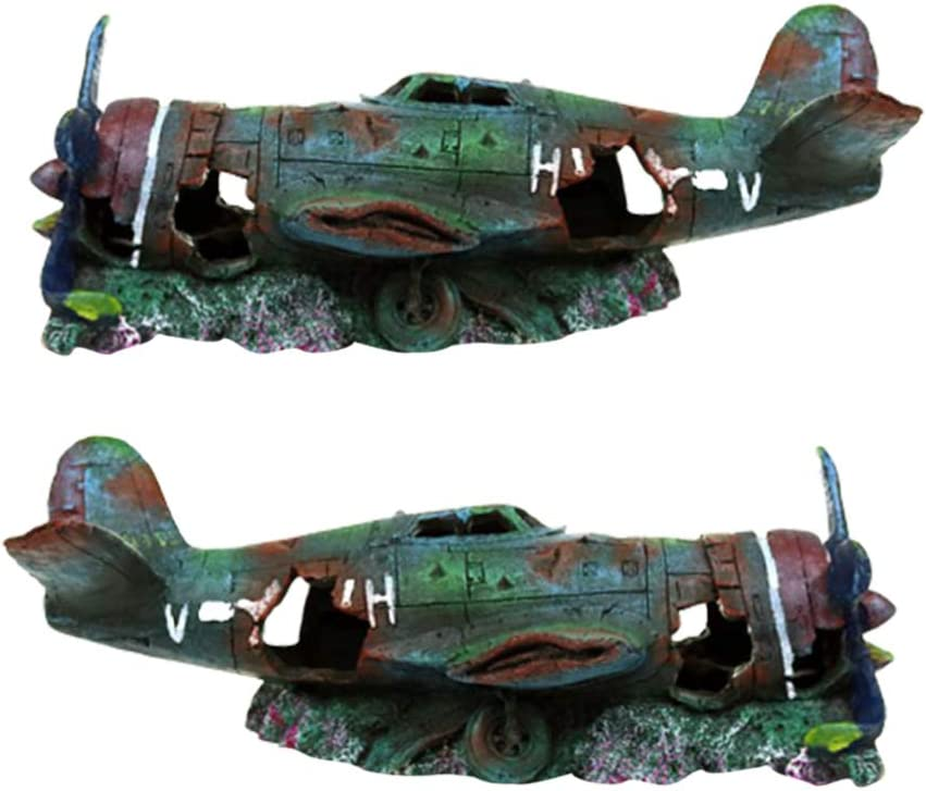 Balacoo Resin Fish Tank Ornament Fighter Plane Aquarium Decoration Cave Hideout Habitat Military Wreck Military Thunderbolt for Fish Tank Aquarium S