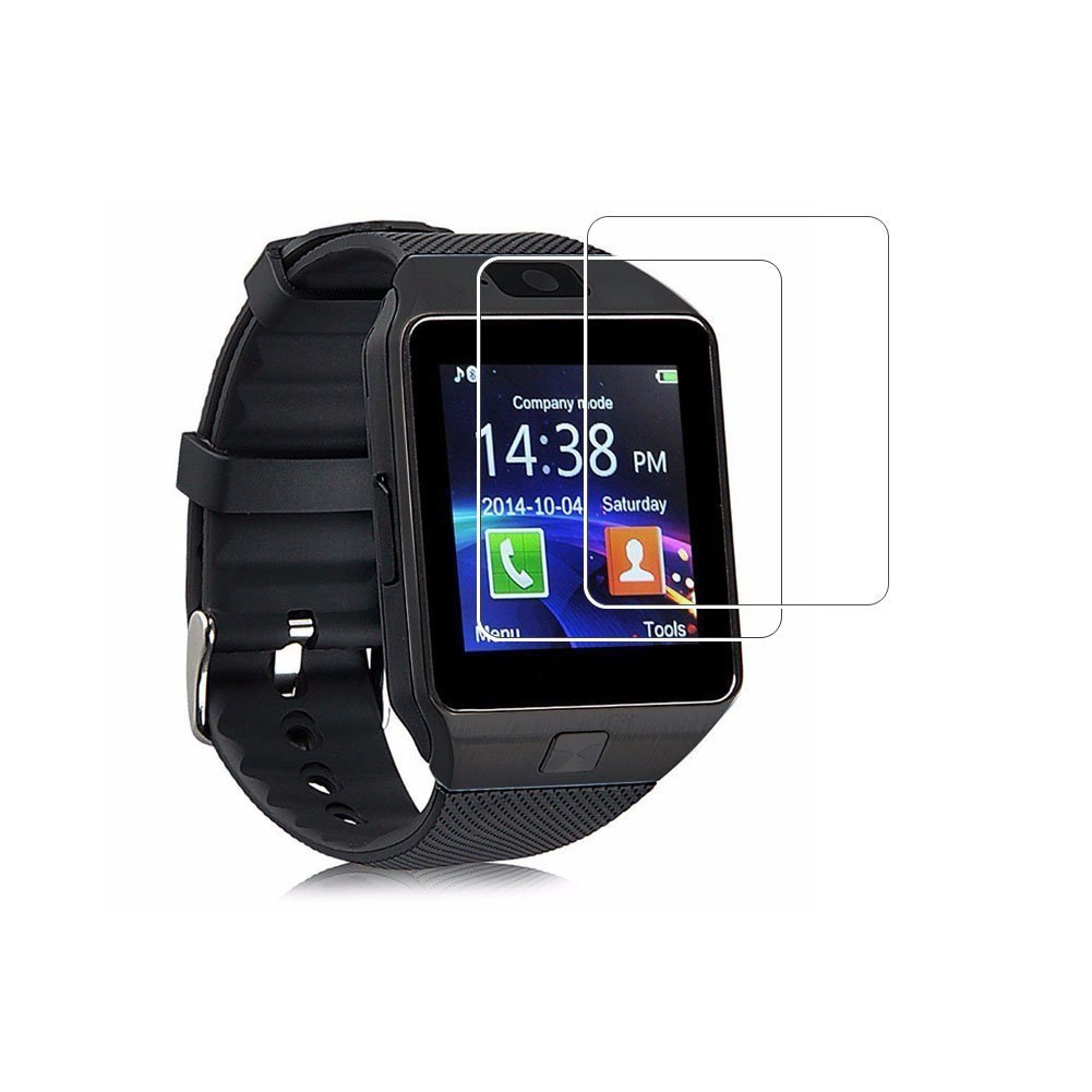 (Paquete de 2) Protector de pantalla DZ09, Cobertura total Protector de pantalla de vidrio templado de 9H Dureza para DZ09 Reloj inteligente con ...
