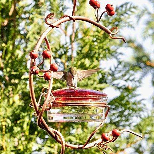 Courtyard Bird Feeder Red Berries Hummingbird Feeder Outside Hanging Wild Bird Feeders Tray Garden Metal Landscape