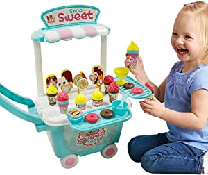 Kids Ice Cream Cart Toys - Ice Cream Cart for Toddlers Food Truck for kids Food Truck for Toddlers Ice Cream Truck Pretend Food Play Set Activity Early Development Educational Toy for Kids 45 PCS