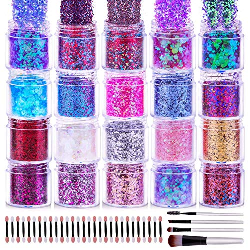 Chunky Glitter for Nails, Cridoz 20 Colors Chunky Face Glitter Holographic Hair Resin Craft Glitter Cosmetic Glitter for…