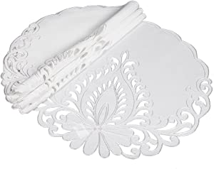 Xia Home Fashions XD17144 Wilshire Embroidered Cutwork Round Placemats, 16-Inch, White, 4 Piece