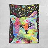 Lume.ly - Colorful Cute Kitten Kitty Cat Art Large Wall Hanging Tapestry for Bedroom or Beach, Unique Luxury Designer Bright Art Home Decorative (50x60 inches)