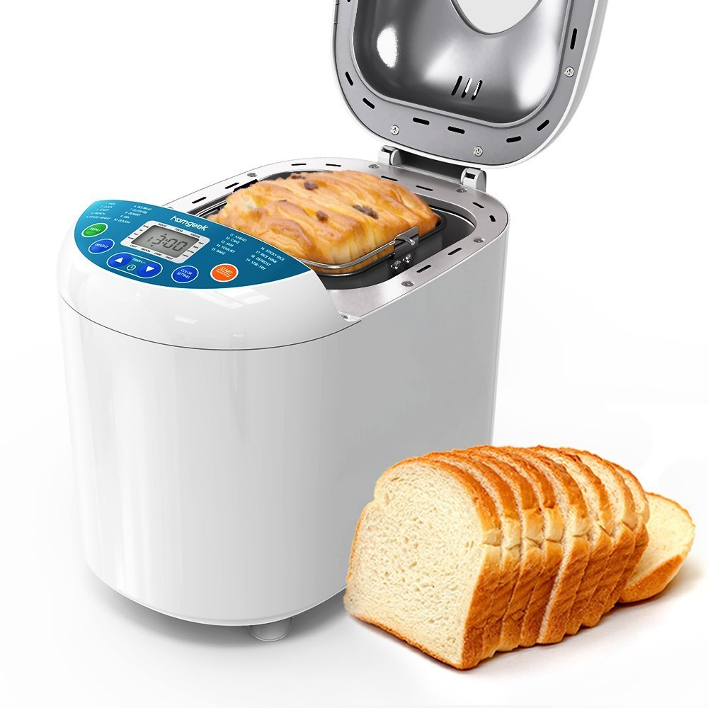 Homgeek Home Bakery Bread Machine 2.2 Pound with 19 Programmable Menus Setting and 15 Hours Preset,3 Crust Colors,White by Homgeek (Image #1)