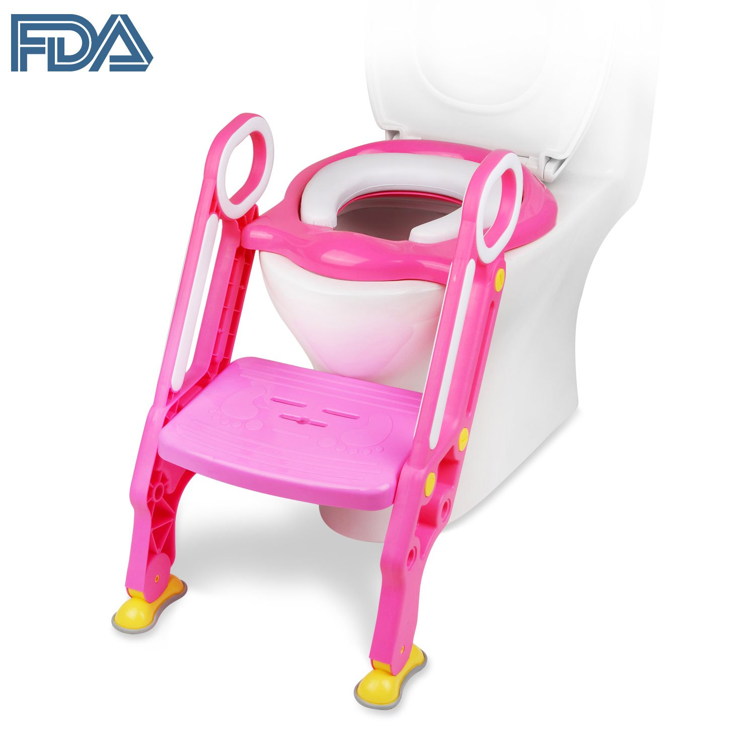 [FDA Certified] Ostrich Toilet Step Trainer Ladder for Kid and Baby, Children's Toilet Seat Chair, Toddlers Toilet Training Step Stool for Girl and Boy (Pink) SYNCHKG120734