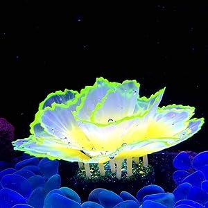 Danmu 1pc of Glowing Effect Artificial Coral, Aquarium Coral Decor, Coral Ornaments, Plant Ornaments for Fish Tank Aquarium Decoration Flower Shape 2 7/10