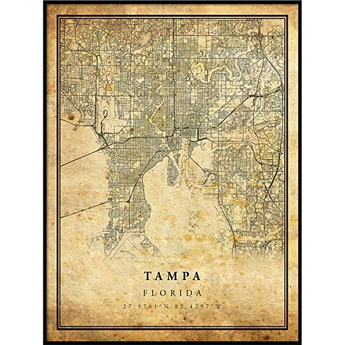 Tampa map Vintage Style Poster Print | Old City Artwork Prints | Antique Style Home Decor | Florida Wall Art Gift | map Wall Decor 16x20 ()
