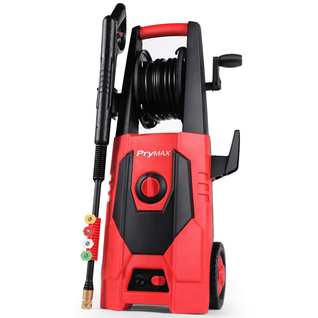 PRYMAX Pressure Washer 3000 PSI 1.85 GPM Car Electric Power Washer with Hose Reel and Interchangeable Nozzles, Red