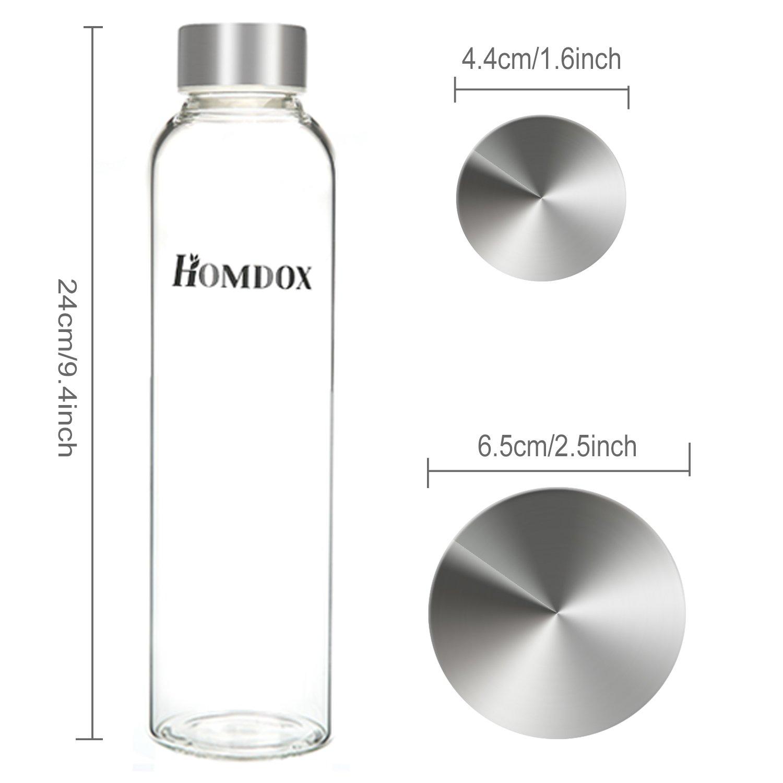 Homdox Botella de Agua para Llevar de Vidrio Borosilicato(550ml): Amazon.es: Deportes y aire libre