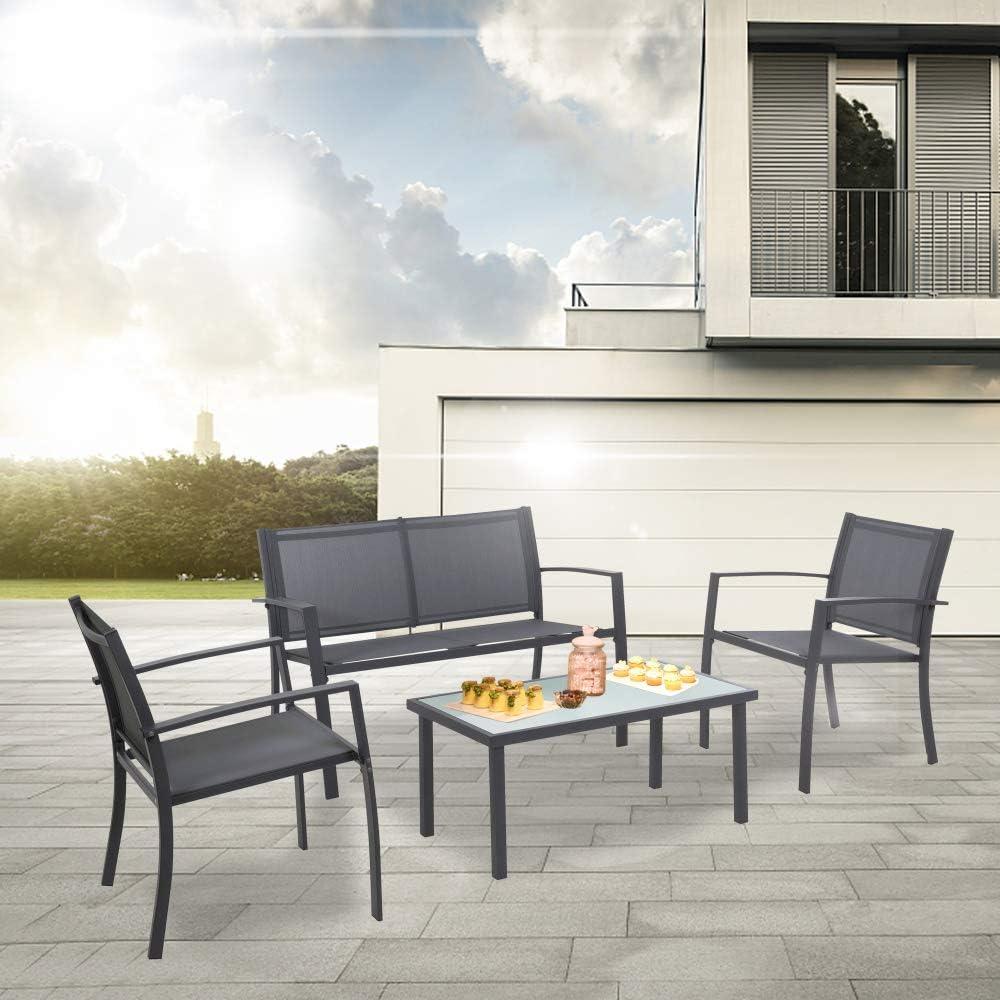 1 poltrone 1 Divano con Doppia Sedia tavolino in Vetro Set da Pranzo per mobili da Esterno XUHAHAZNSH Set di mobili da Giardino a 4 posti con 2