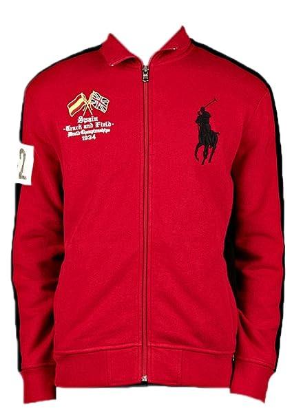 6432fbcd Polo Ralph Lauren Mens Spain Track and Field Big Pony Fleece Zip Jacket (X-
