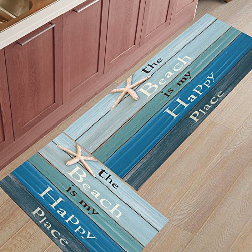 (2 Pieces Kitchen Rugs and Mats Non Slip Rubber Backing Floor Carpet Accent Area Runner Thin Low Pile Indoor Doormat Set-The Beach Is My Happy Place-Rustic Wooden Plank Board Sign with Starfish )