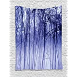 Ambesonne Woodland Decor Collection, Foggy Misty Trees in A Winter Woodland Landscape Scenery Modern Decoration, Bedroom Living Room Dorm Wall Hanging Tapestry, Purple Black Gray