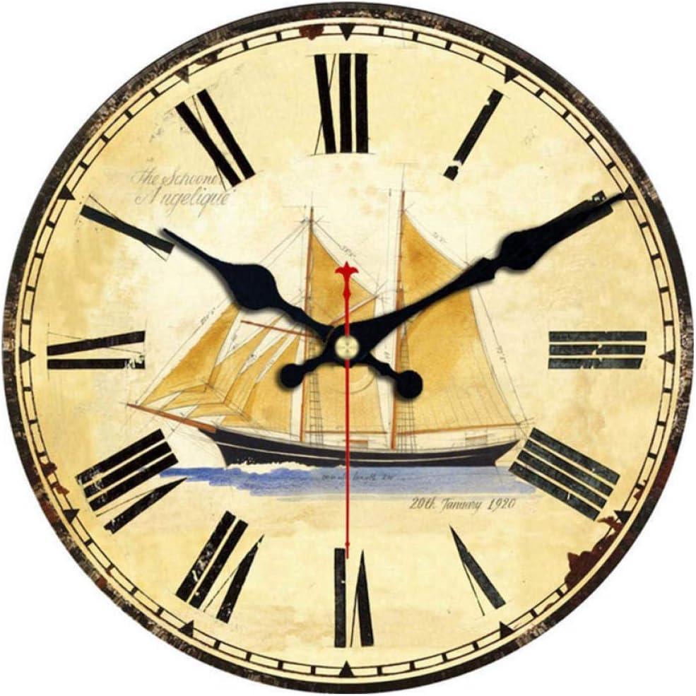 ZYZYY 12inches Reloj de Pared de Madera 9 Patrones Relojes Vintage Relojes de diseño de Mapa silencioso Oficina Cocina Decoración para el hogar Arte Reloj de Pared Grande