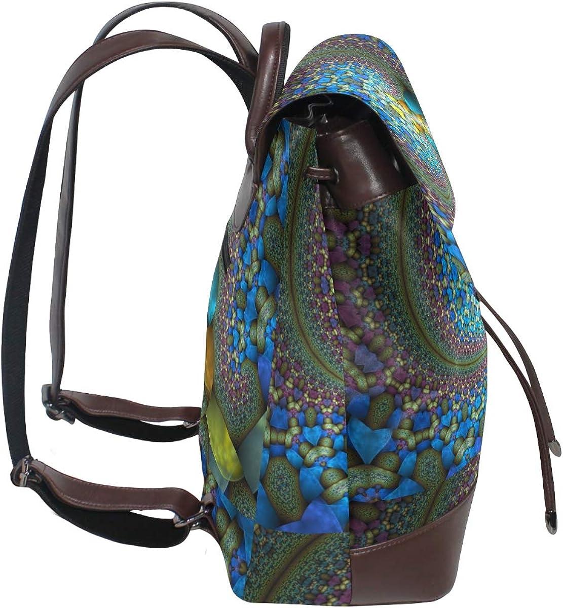 PU Leather Shoulder Bag,Wonderful Abstract Design Backpack,Portable Travel School Rucksack,Satchel with Top Handle