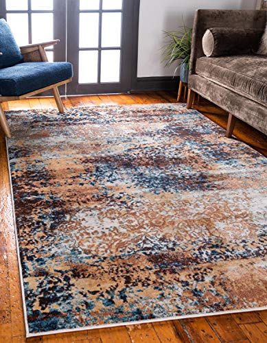 Unique Loom Mystic Collection Abstract Rustic Vintage Brick Red Area Rug (5' 0 x 8' 0) (Room Orange Navy And Living)