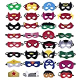 Superhero Masks - Super Hero Party Favors for Kids,32 Pcs 7x3x0.1inch Superhero Theme Birthday Supplies for Christmas Halloween