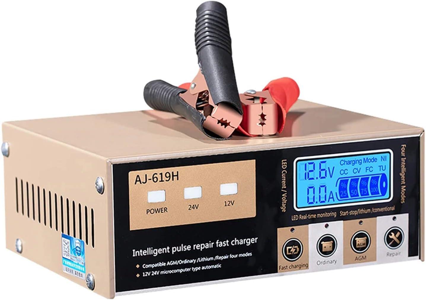 Cargador de batería de coche de motocicleta 12V24V Arranque-parada automático para batería de litio de plomo-ácido Cargador de reparación de pulso para camión Carretilla elevadora Excavadora