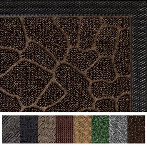 Gorilla Grip Original Durable Rubber Door Mat, 29 x 17, Heavy Duty Doormat, Indoor Outdoor, Waterproof, Easy Clean, Low-Profile Mats for Entry, Garage, Patio, High Traffic Areas, Chocolate - Mat Off Walk