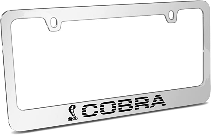 Ford Mustang Cobra Mirror Chrome Metal License Plate Frame Made in USA iPick Image