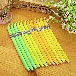 12 Pcs/lot New Cute Kawaii Plastic Banana Black Gel Pen