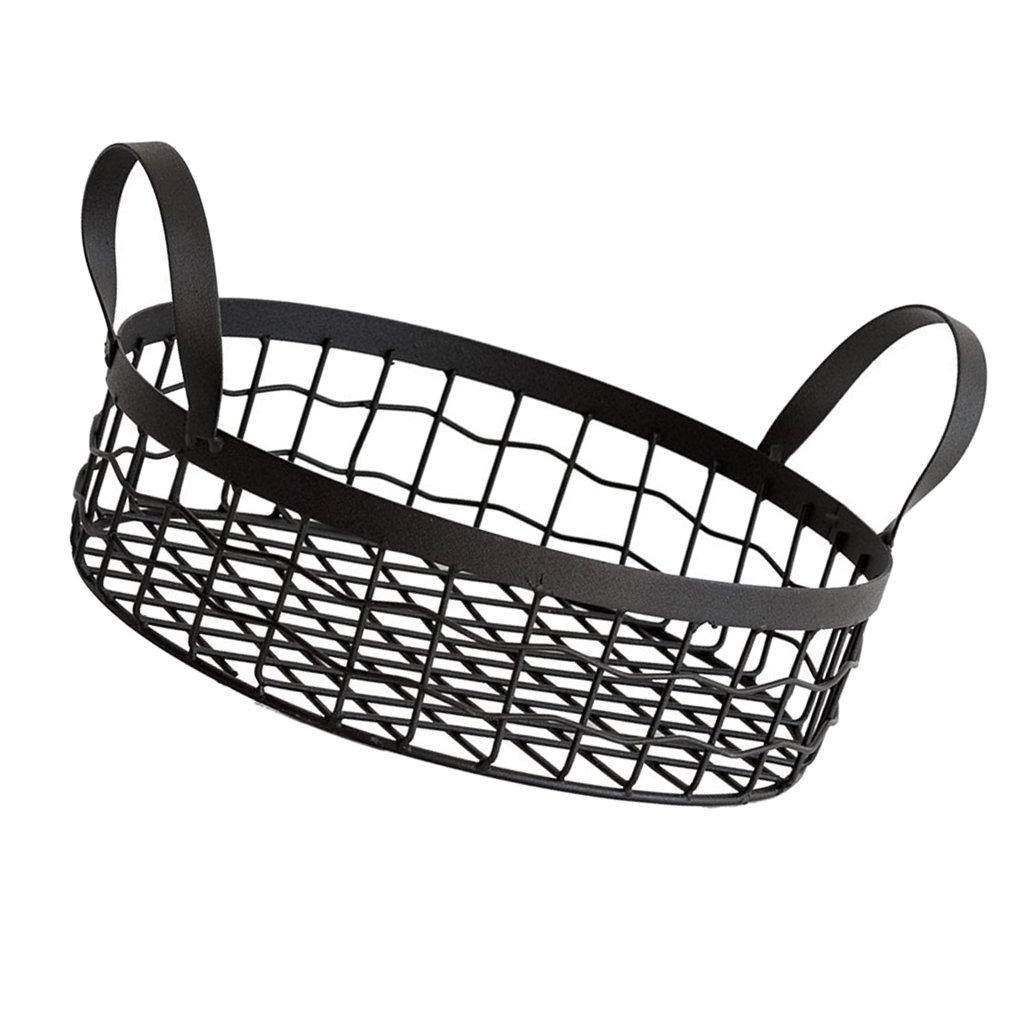 Baoblaze Metal Wire Basket Storage Round Vintage Mesh Hamper Organizer Container