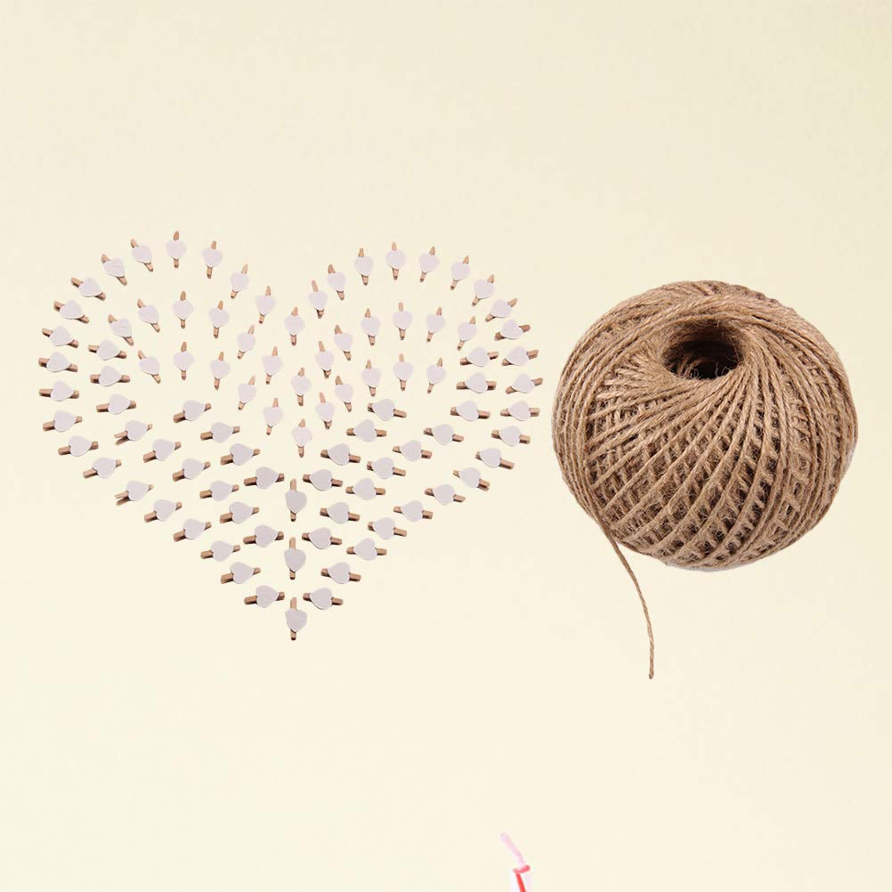 101pcs Picture Clips Set with Jute Twine Wood Craft Clips Photo Pins Clothepins with White Heart Pattern (100pcs Clips and 1pc 100Yard String) by BESTOYARD (Image #2)