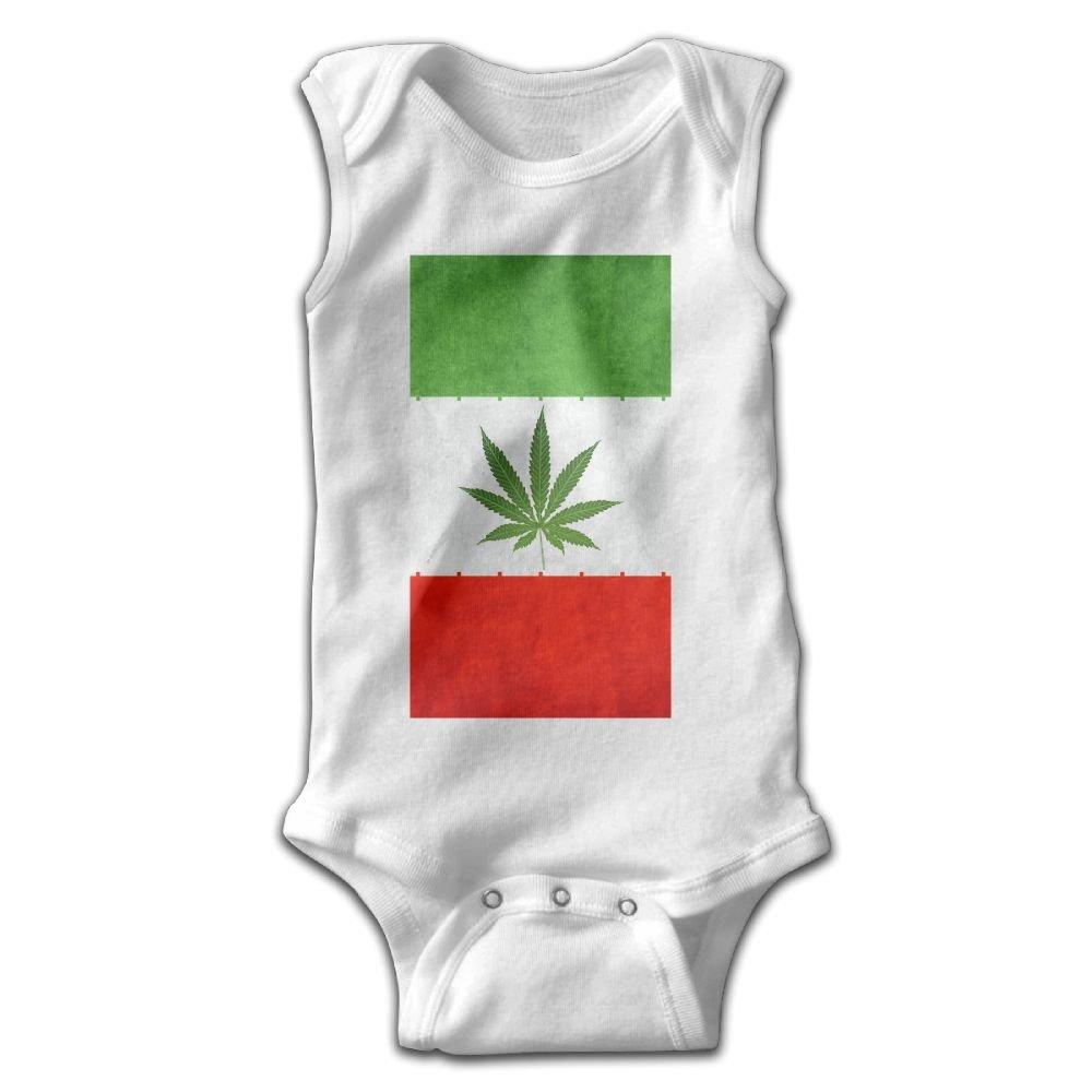 Efbj Newborn Baby Girls Rompers Sleeveless Cotton Onesie Weed Leave Flag Outfit Jumpsuit Summer Pajamas Bodysuit