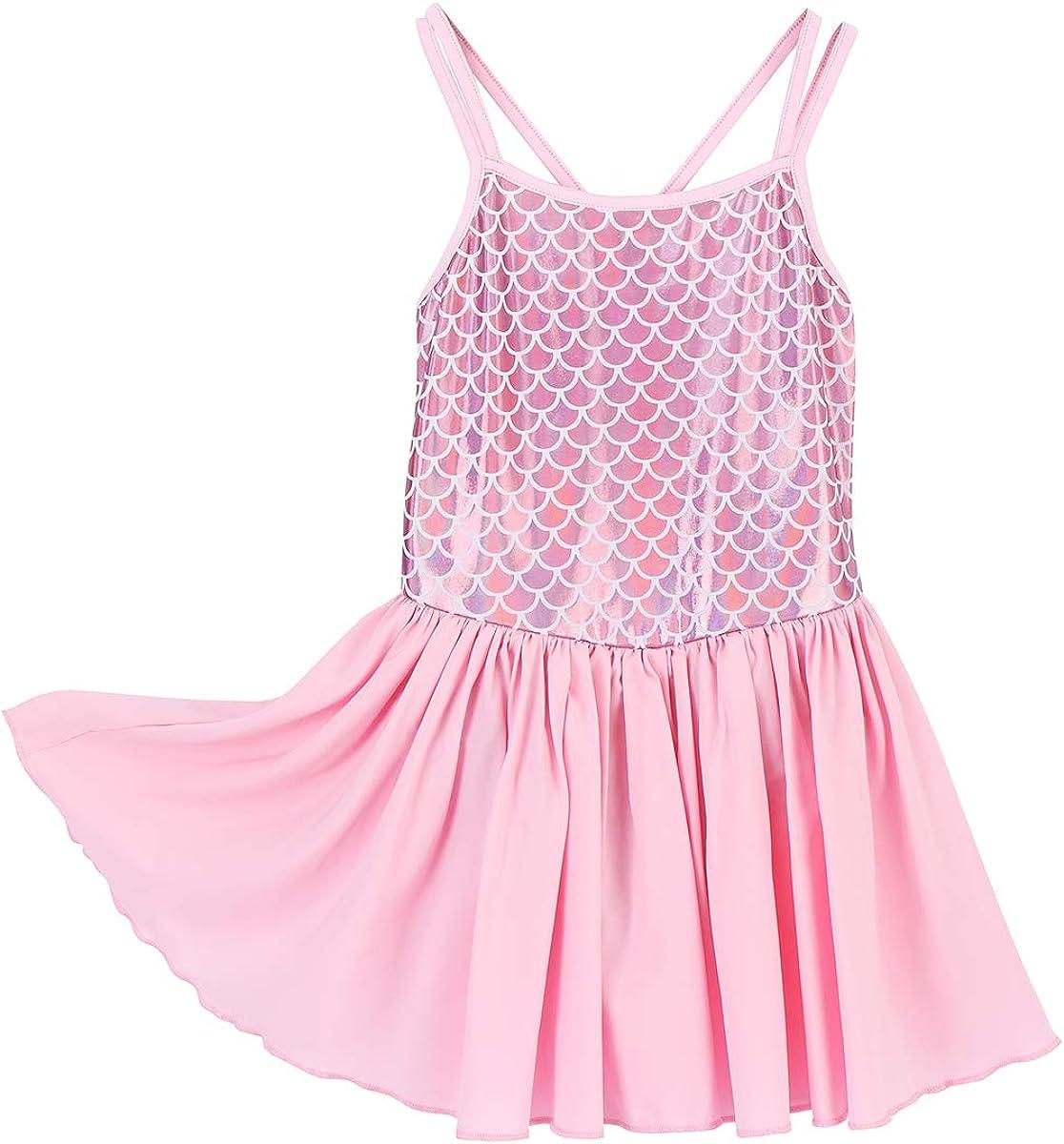 Girls Ballet Gymnastics Dance Leotard Tutu Dress Mermaid Scales Dancing Costume